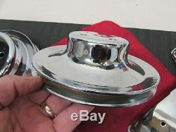 Sb Chevy Sbc Chrome Acier Poulie Lot Avec Des Supports 327 350 400 V8