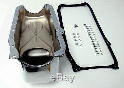 Sb Chevy Sbc Chrome Oil Pan Avec Des Boulons Et Joints 4qt 305-350 86-up Hot Rat Rod