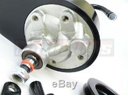 Sb Chevy Sbc Noir Pompe De Direction Assistée Saginaw + Support + Poulie En Aluminium Lwp Swp