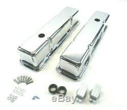 Sbc Chevy 327 350 383 Valve Grand Aluminium Lisse Couvercle Avec Trou Chrome Bpe-2009c