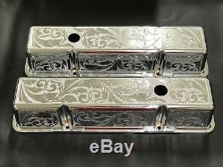 Sbc Chevy 327 350 400 Couvre-couvercles De Soupape En Aluminium Lisse Poli-poli, Gravés Au Chrome