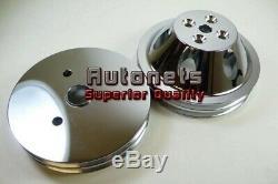 Sbc Chevy Chrome Aluminium 2 Pompe Double Rainure Courte Eau Kit Poulie Vilebrequin