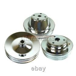 Sbc Chevy Chrome Pompe À Eau Longue Poulies 2/3/2 Groove Power Steering Cranshaft