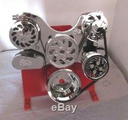 Small Block Chevy 350-383 Lwp Serpentine Kit Complet Chrome Bp-5000c