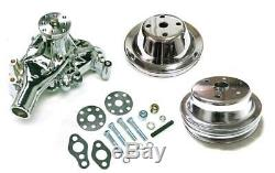 Small Block Chevy Chrome Long Water Pump & De 1/2 Groove Vilebrequin Kit Pulleys