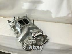 Small Block Chevy Edelbrock Performer RPM Manifold Thermostadt Chrome Carb Studs