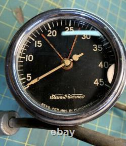 Stewart Warner Tachomètre Tach 4500 Tête Plate Scta Curved Glass Hot Rat Rod 6v