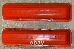 Vintage 1960-67 Chevrolet Script Valve Couvre 283 327 Chevy Straight Bolt Holes